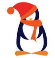 penguin with scarf and hat vector image