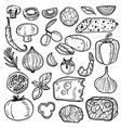 pizza ingredients hand drawn black thin line icon vector image vector image