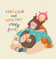 portrait cute crazy family mother father vector image