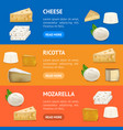 realistic detailed 3d cheese banner horizontal set vector image