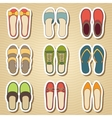 Set of nine woman shoes icon vector image vector image