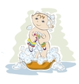 small child bathes vector image
