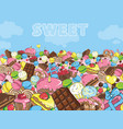 sweets filled entire landscape to the horizon vector image
