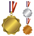 Three medals for the winners vector image vector image