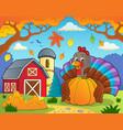 turkey bird holding pumpkin theme 4 vector image vector image