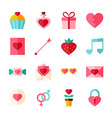 Valentine Day Flat Objects Set isolated over White vector image