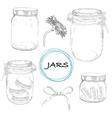 set hand drawn jars Vintage vector image