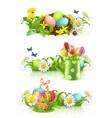 easter spring flowers 3d banner set vector image