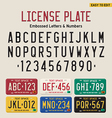 3d license plate font and license plate set vector image vector image