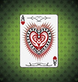 Ace hearts poker cards green background vector image vector image