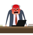 Angry boss with face getting red vector image