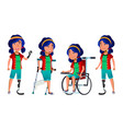 asian girl kid poses set high school child vector image vector image