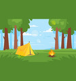 background with forest camp fire vector image
