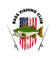 bass fishing club fish on american flag vector image vector image