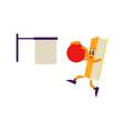 cartoon book character basketball slam dunk vector image vector image