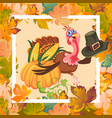 cartoon thanksgiving turkey character in hat vector image vector image