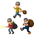 cartoon thief in a collection of different actions vector image
