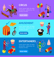 circus amusement and attraction banner horizontal vector image