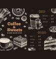 coffee menu coffee house bar or cafe menu design vector image