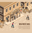 cowboys duel isometric vector image vector image