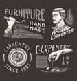 cut wood and hand with tool woodworker carpenter vector image