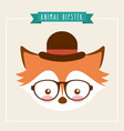 cute animal with hat and glasses hipster style vector image