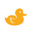 cute yellow duck kid play symbol design vector image