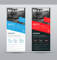 design of roll-up banners with diagonal red and vector image vector image