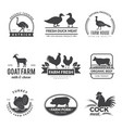 farm animals logo cow sheep goat symbols vector image vector image