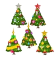 Five green Christmas trees on white background vector image vector image