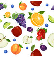 fruits seamless pattern isolated on white vector image vector image