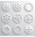 Gear wheels icon set Nine 3d gears on a light gray vector image vector image