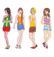 girls in summer fashion vector image