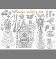 halloween coloring set with beautiful witch girls vector image vector image