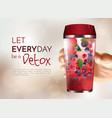 hand holding detox bottle poster vector image vector image