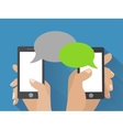 Hand holding smartphone with blank speech bubbles vector image vector image