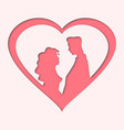 happy valentines day - two red heart paper sticker vector image vector image