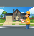 home inspector in front of a house vector image vector image