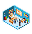 isometric office room coworking vector image