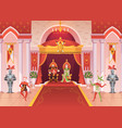 king and queen interior medieval royal palace vector image vector image