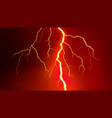 lightning flash on red background vector image vector image