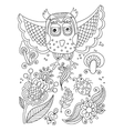 line drawing forest elements - owl flowers vector image