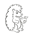 Little cute hedgehog holds an apple in the paw vector image vector image