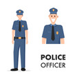 male character policeman head shot and full length vector image