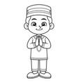 moslem boy greeting salaam ramadan bw vector image vector image