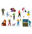 people pet owner cartoon flat vector image vector image
