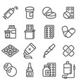 pills capsules and bottles icons set vector image vector image