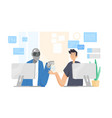 robot and man sitting at computers and working vector image vector image