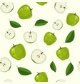 seamless pattern with fresh green apples vector image