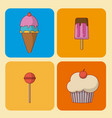 set of desserts and candys vector image